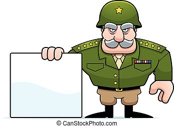 An illustration of a cartoon military general with a blank sign.