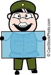 Cartoon Military Man holding a glass banner