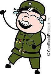 Cartoon Military Man Laughing