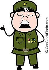 Cartoon Military Man Pensive