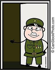 Cartoon Military Man Standing at door