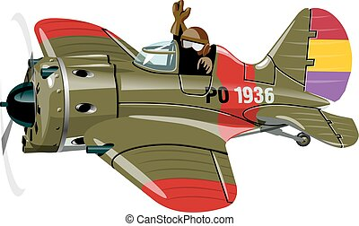 Cartoon Military Retro Fighter