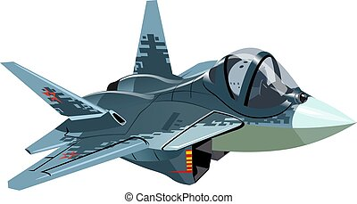 Cartoon Military Stealth Jet Fighter Plane Isolated - Vector...
