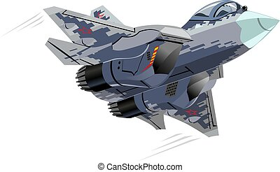 Cartoon Military Stealth Jet Fighter Plane Isolated