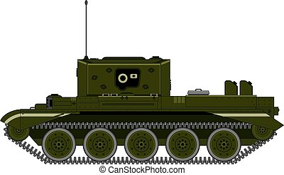 Cartoon Military Tank Side View