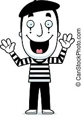 Cartoon Mime Smiling - A cartoon illustration of a mime...