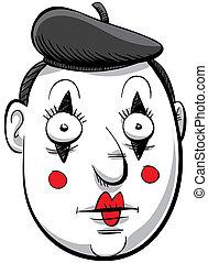 Cartoon Mime - Cartoon face of a mime in makeup.