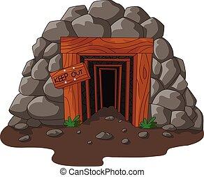 Cartoon mine entrance - Vector illustration of Cartoon mine...