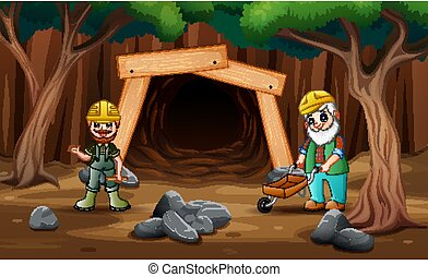 Cartoon mine entrance with gold miner worker