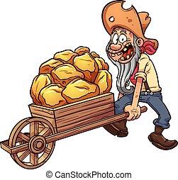 Cartoon miner with a wheelbarrow full of gold. Vector clip...