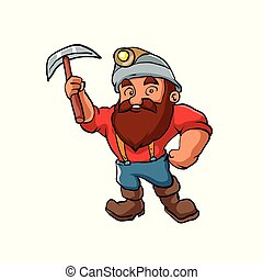Cartoon Miner with pickaxe.