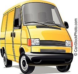 Cartoon minibus isolated on a white background. Vector illustration