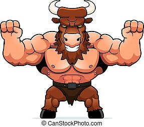 Cartoon Minotaur Celebrating