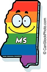 Cartoon Mississippi Gay Marriage - A cartoon illustration of...