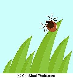 Cartoon mite in the tall green grass flat vector illustration, mite hiding in the grass, tick-borne mite color icon, danger tick bug in nature grass, color mite illustration in circle, dangerous tick bug icon