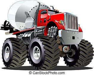 Cartoon Mixer Monster Truck - Vector Cartoon Mixer Monster...