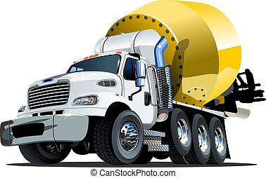 Cartoon Mixer Truck one click repaint option - Vector...