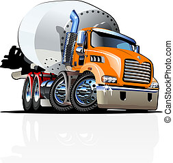 Cartoon Mixer Truck one click repaint option - Vector...