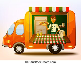 Cartoon mobile italian food truck with cooker