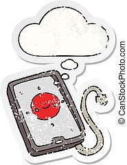 cartoon mobile phone device and thought bubble as a distressed worn sticker