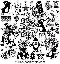 cartoon mole and christman black white set.eps