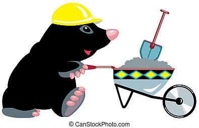 cartoon mole builder with wheelbarrow, isolated image for...