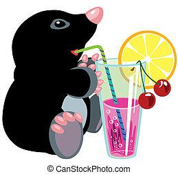 mole drinking fruity cocktail - cartoon mole drinking fruity...