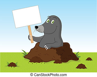 Cartoon Mole - Illustration of mole holding sign.