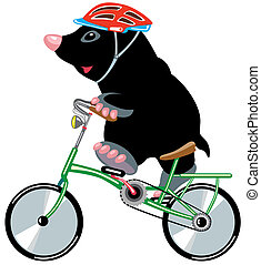 cartoon mole riding a bicycle, isolated image for little kids