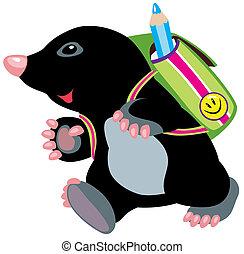 mole walking to school - cartoon mole walking to school,...