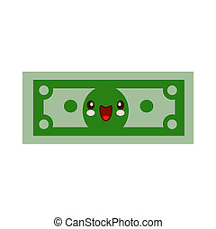 Cartoon money character smiling kawaii face. Self-confident green dollar in flat style. Financial strength concept.  illustration