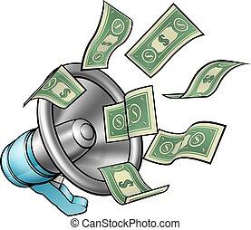 Cartoon Money Megaphone Concept