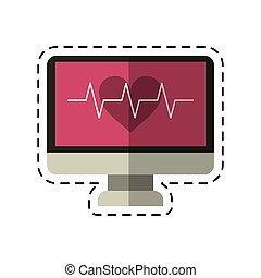 cartoon monitor heartbeat cardiology rhythm
