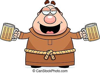 Cartoon Monk Beer - A cartoon illustration of a monk...
