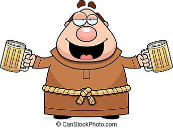 Cartoon Monk Beer - A cartoon illustration of a monk...