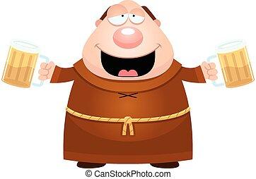 Cartoon Monk Drinking Beer - A cartoon illustration of a...