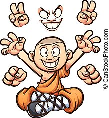 Cartoon monk with different hands and two faces. Vector clip...