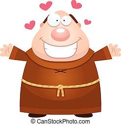 Cartoon Monk Hug - A cartoon illustration of a monk ready to...