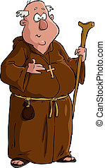 Cartoon monk - Monk on a white background vector...