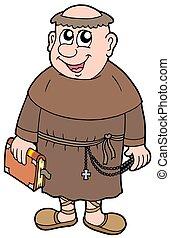 Cartoon monk on white background - isolated illustration.