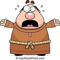 Cartoon Monk Panicking