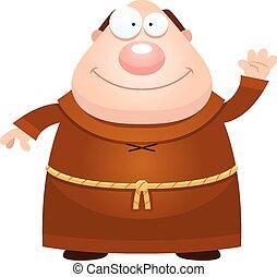 Cartoon Monk Waving - A cartoon illustration of a monk...