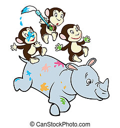 Cartoon Monkey And Rhino