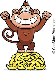 Cartoon Monkey Bananas - A cartoon illustration of a monkey...
