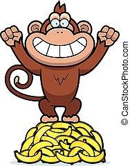 Cartoon Monkey Bananas - A cartoon illustration of a monkey...