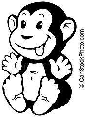 cartoon monkey black white