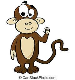 Cartoon monkey - Cartoon illustration of a cute monkey...