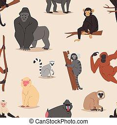 Cartoon monkey character animal wild vector illustration seamless pattern background