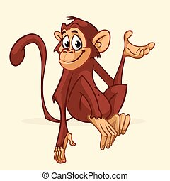 Cartoon monkey character. Vector illustration of funny ...
