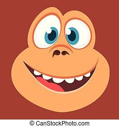 Cartoon monkey face avatar smiling